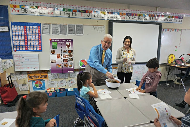 U.S. Congressman Jim Costa blends a salad for students at La Vina Elementary School in Madera County.