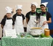 """This is the championship Dixon Ridge 4-H Club Chili Team: (from left)  siblings Moncerral """"Monce"""" Torres Cisneros, Maritzia Partida Cisneros, Rudolfo """"Rudy"""" Radillio Cisneros, and Miguel Partida Cisneros. They made """"4-H Green and White Chili."""" (Photo: Kathy Keatley Garvey)"""
