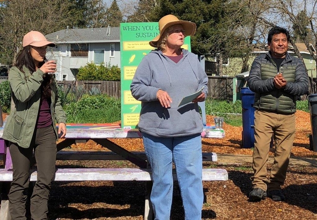 Stephanie Wrightson, UC Master Gardener, teaching residents of Sonoma County about sustainable gardening practices and how to grow their own food at the Bayer Farm Neighborhood Park & Garden.