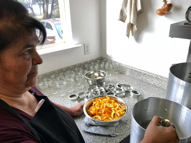 UC Master Food Preserver Lena McCovey prepares candied orange peels. (Photo Barbara Goldberg)