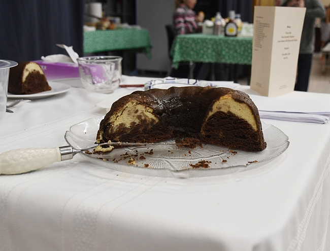 Celeste Harrison's chocoflan dessert was a big hit at the Solano County 4-H Project Skills Day. She won a showmanship award. (Photo by Kathy Keatley Garvey)