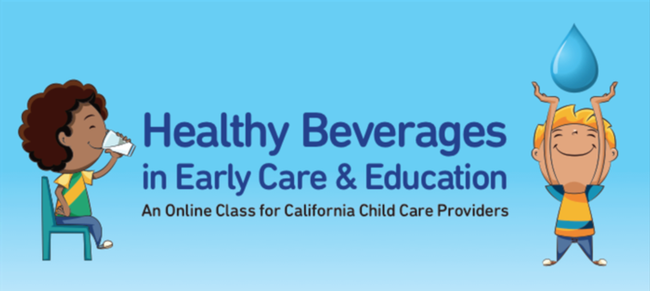 Healthy Beverages in Child Care Online Course with cartoon images of kids