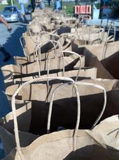 Food sacks prepared for drive-by pick up by families in the North Monterey County Unified School District.