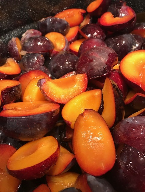 Fresh plums ready for canning