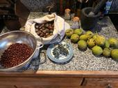 From left, common manzanita berries, black oak acorns, California wild grapes, salt and black walnuts.