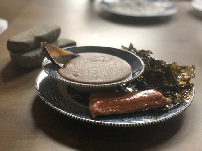 A meal of acorn mush, seaweed and salmon Nelson made in commemoration of his grandfather, who was a member of the Graton Rancheria community.