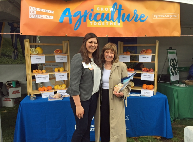 In 2019, GFI fellow Maci Lienemann Mueller, shown with California Department of Food and Agriculture Secretary Karen Ross, organized UC ANR's exhibit for Ag Day at the Capitol.
