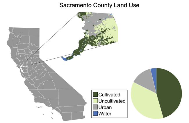 Pie chart shows portions of land that is cultivated, uncultivated, urban and water.
