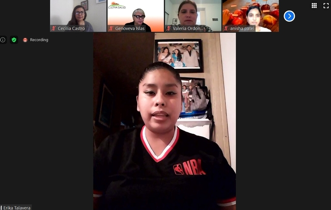 Parent leader Erika Talavera presents during school meals webinar