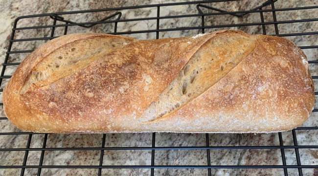 Freshly baked sourdough baguette