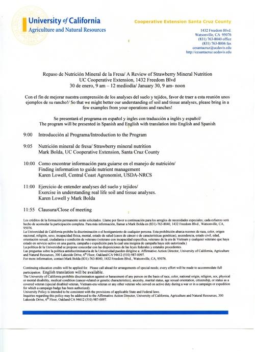 Se anuncia una reunión de nutrición mineral de la fresa este 30 de enero viniente.