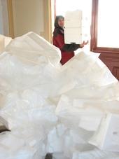 Bags of piled Styrofoam