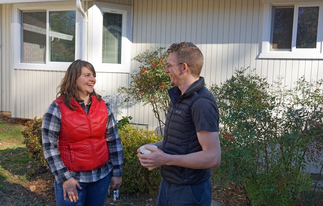 Kate Wilkin and her husband Josiah Johnston in front of their Grass Valley home.