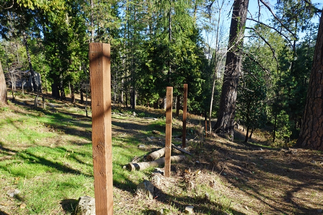 "The previous homeowners installed wood fences on the sloping property lines from down the hill up to the home. ""It was a perfect way for a fire to wick into the house,"" Wilkin said. The couple removed the fence slats and plan to remove the posts as well."