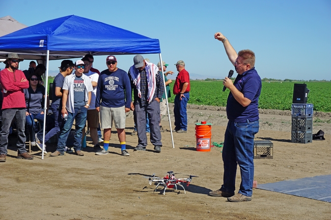 Fresno State electrical engineering professor Gregory Kriehn is conducting research on the use of sensors in farm fields to collect data and transmit the information to drones.