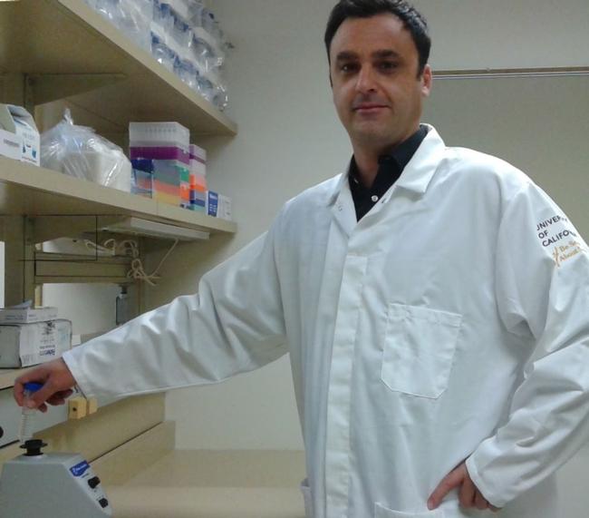Florent Trouillas in his plant pathology lab at Kearney.