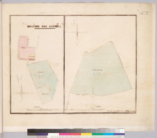 The San Gabriel Mission was one of the first centers of wine grape production in early Los Angeles.  This 1854 survey shows the Mission's extensive vineyard, on the right panel.  Image from the Bancroft Library, University of California, Berkeley.