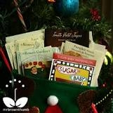 Stocking filled with colorful seed packets of many varieties.