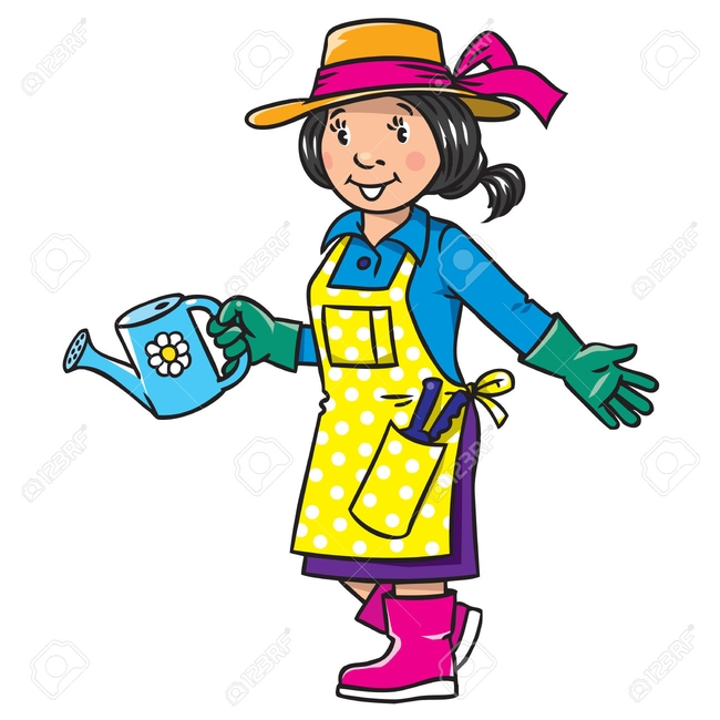 Gardener with PPE--she's got sunscreen on, and her eye protection is in the other pocket.