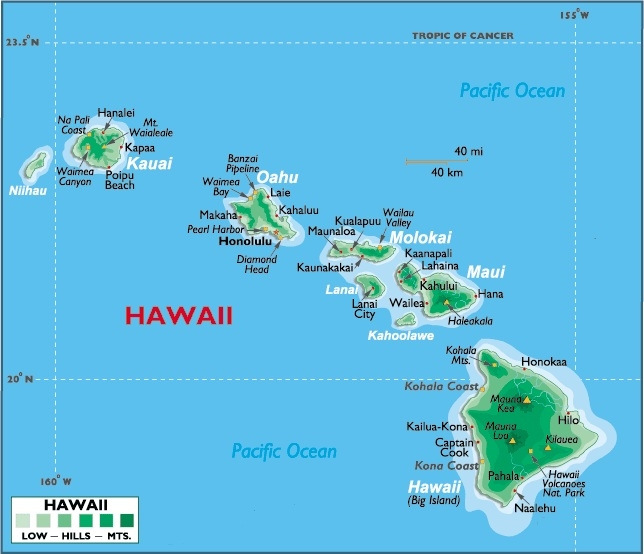 Orient yourself.  These Hawaiian Islands are about 2500 miles west and a little south of us. (World Atlas)