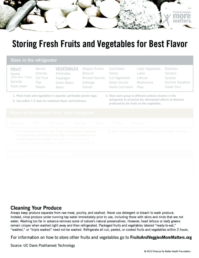 Search out information for storing fresh fruit and vegetables (UC Davis Postharvest Technology)