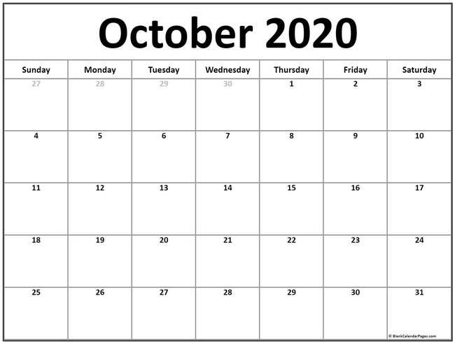 It's Oct 2020. (blankcalendarpages.com)