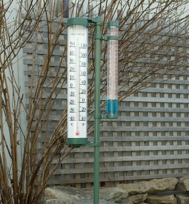 Rain gauge and thermometer. (leevalleytools.com)
