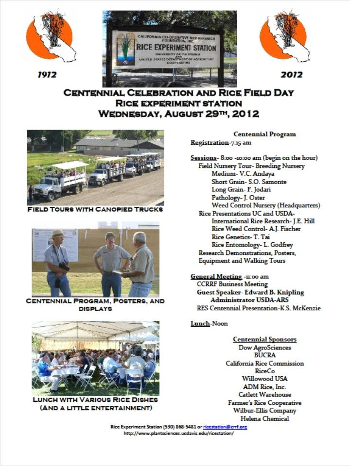 Don't forget the Rice Field Day! - UC Rice Blog - ANR Blogs