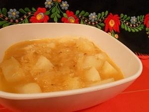 Sauerkraut soup, vegan, at http://czechvegan.blogspot.com/2011/10/czech-sauerkraut-soup-aka-zelnacka.html