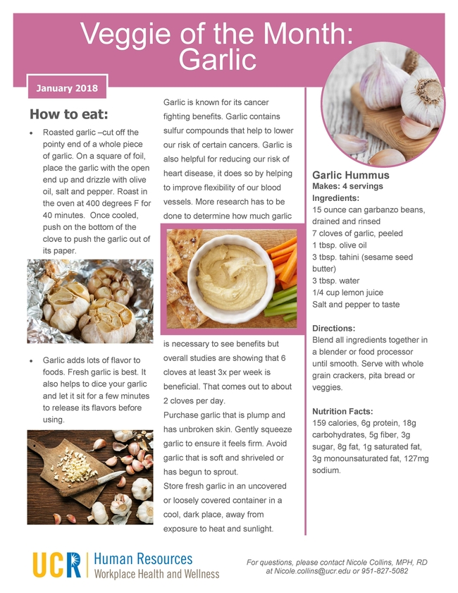 January 2018 - Veggies of the Month Page 1