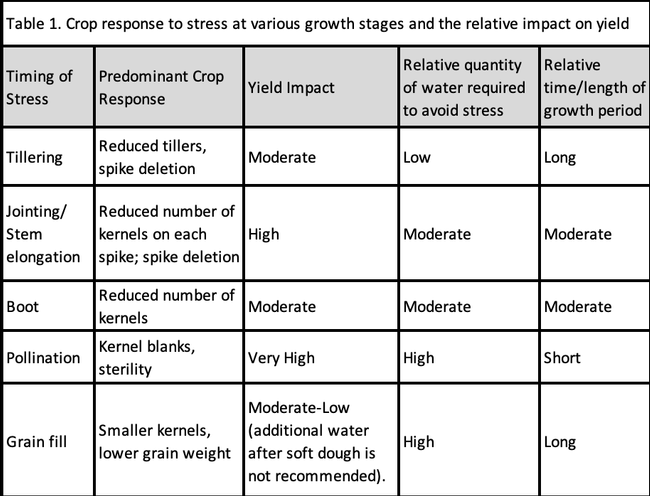 Table 1: Yield Reduction Potential and Water Relations of Wheat Growth Stages