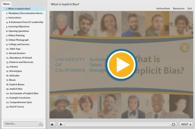 Screen shot of the first module of the Managing Implicit Bias video series titled