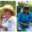 Gail Mason (left) addresses a group of UC Master Gardener volunteers at the Falkirk Cultural Center. Jessica Wasserman (right) places a plant identificaiton book in front of a succulent table at the Falkirk Cultural Center / Photo credit: UC Master Gardener Program in Marin).