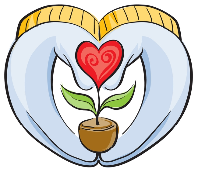 MG blue gloves with gold trim formed in the shape of a heart while holding a red potted flower also shaped like a heart.