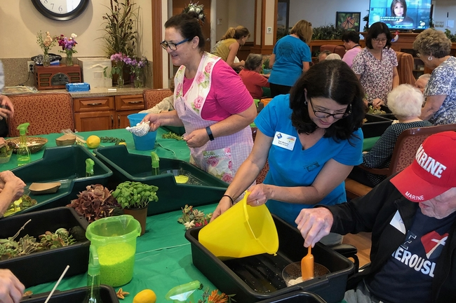 San Diego sensory group activity, handing out plants and supplies