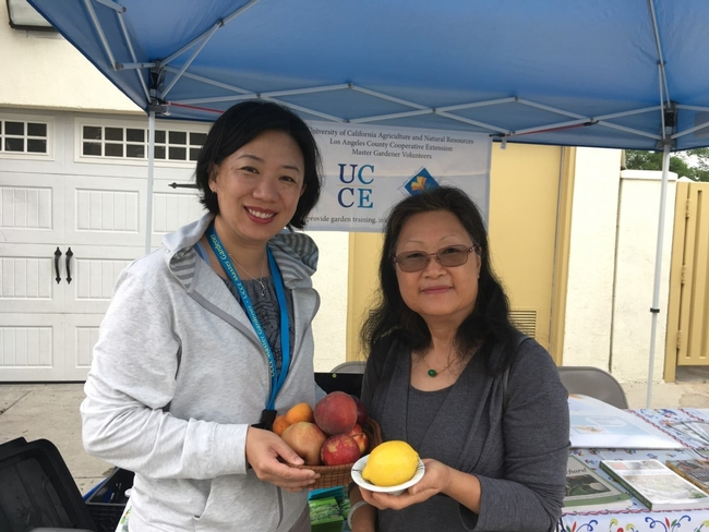 Jennifer Kwoon stands with a community member, both holding stone fruit and citrus, in front of a table at an outdoor farmer's market.
