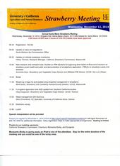 November 12, 2014 Strawberry Production Research meeting agenda.