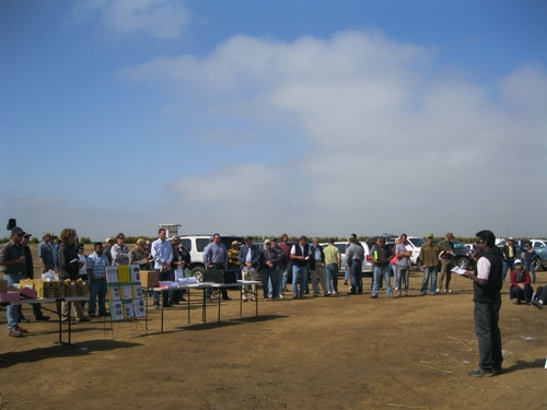 Surendra presenting to attendees at a past Santa Maria Strawberry Field Day.