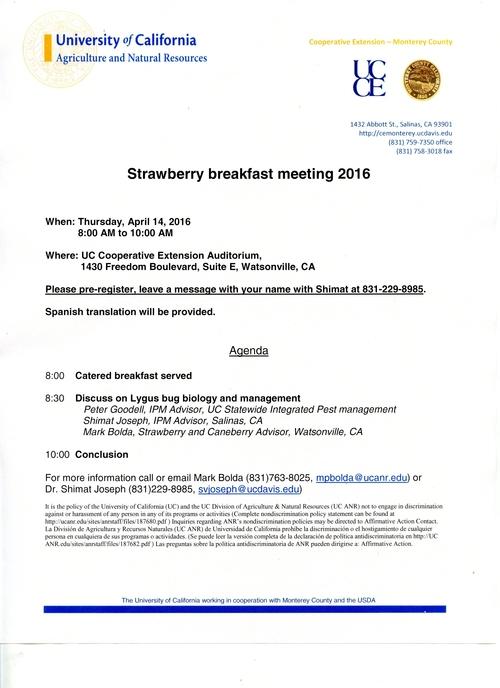 Strawberry Breakfast Meeting Focused on Lygus Bugs April 14, 2016