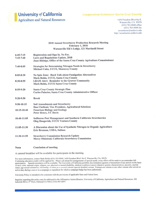 2018 Annual Strawberry Production Research Meeting Agenda
