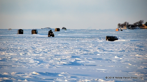 Now that's real cold!  Fishing huts on frozen Lake Winnebago.
