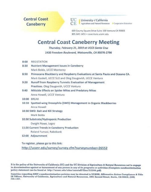 2019 Caneberry Meeting Agenda