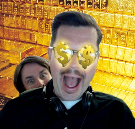 two creepy guys in a gold vault with money over their eyes