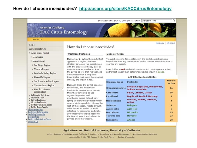 ACP Treatment Protocol for Commercial Orchards Jan 2012