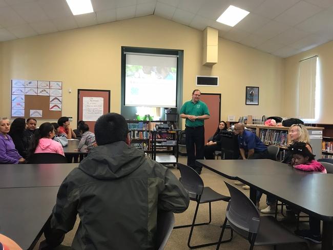 Dr Steven Walker presenting at Roseland Elementary School