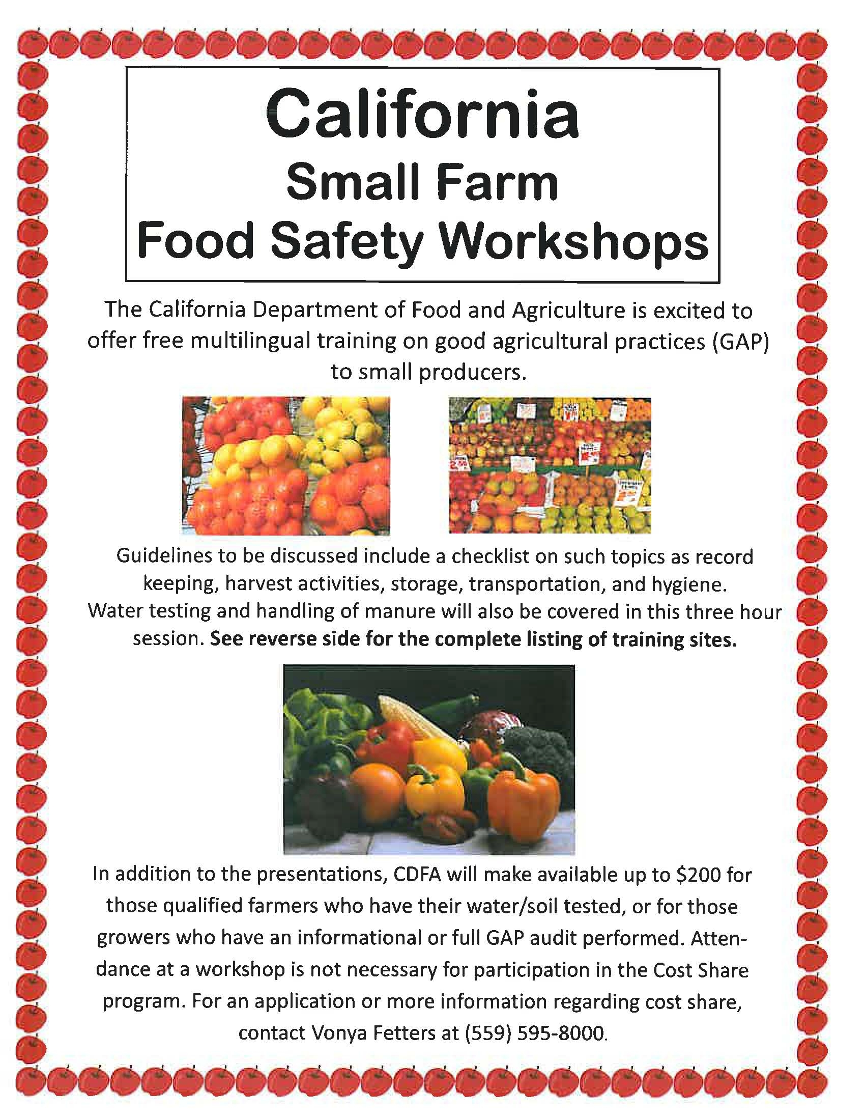 save the date small farm food safety workshops uc cooperative food safety flyer