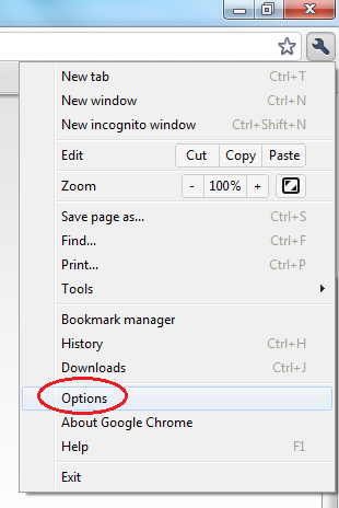 In Chrome select the