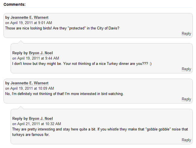 Image: screen capture of a blog post with comments and replies to the comments.