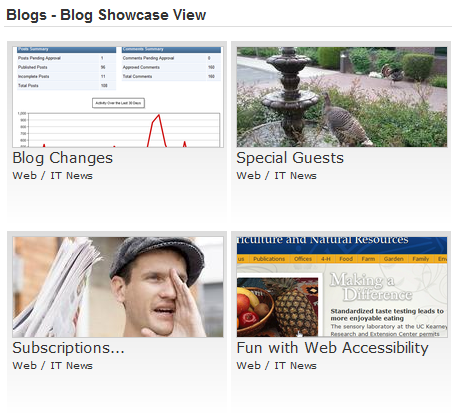 Image of blog posts showing images in the Showcase view format, 2 columns wide.
