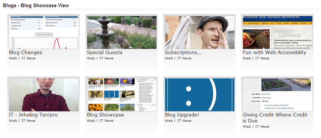 Image of blog posts showing images in the Showcase view format, 4 columns wide.